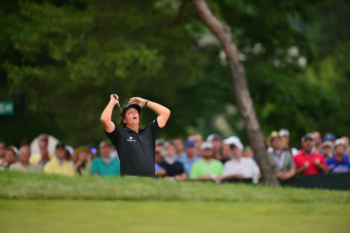 Mickelson nearly holed his bunker shot for eagle on No. 2.