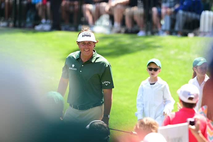 One of the Masters favorites, Phil Mickelson enjoys Wednesday's Par 3 Contest.