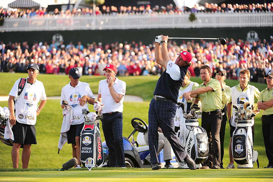 Mickelson and Bradley beat Rory McIlroy and Graeme McDowell, 2 and 1, in the afternoon.