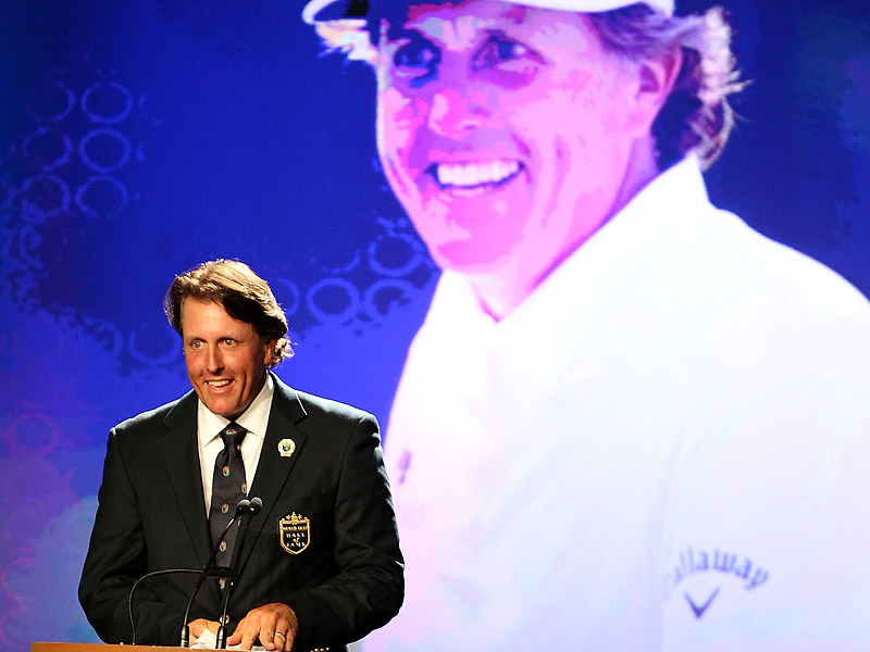 In honor of his 42 career victories and four major championship wins, Phil Mickelson was inducted into the World Golf Hall of Fame on May 7, 2012.