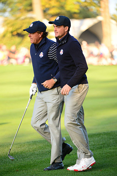 Phil Mickelson and Keegan Bradley, who went 2-0 on Friday, got off to another hot start Saturday morning, dominating Lee Westwood and Luke Donald, 7 and 6.