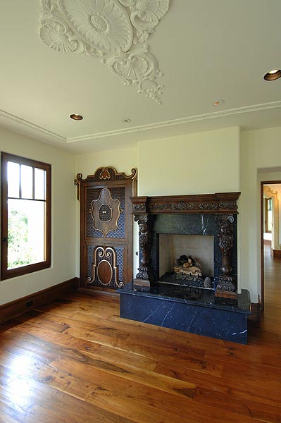 There are several hand-carved fireplaces throughout the house.