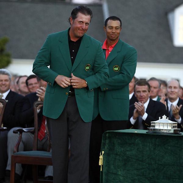 Mickelson won his second consecutive major, and second green jacket, at the 2006 Masters. Woods tied for third, three strokes back.