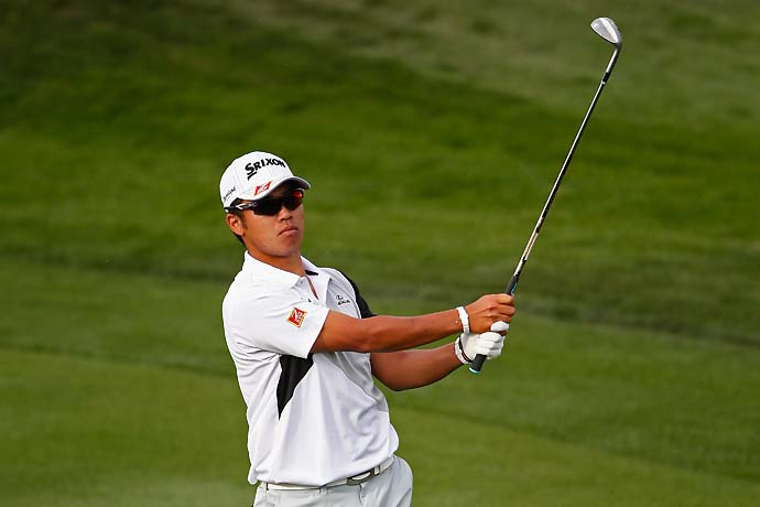 Hideki Matsuyama plays a shot on the 2nd hole during the first round of the Waste Management Phoenix Open.