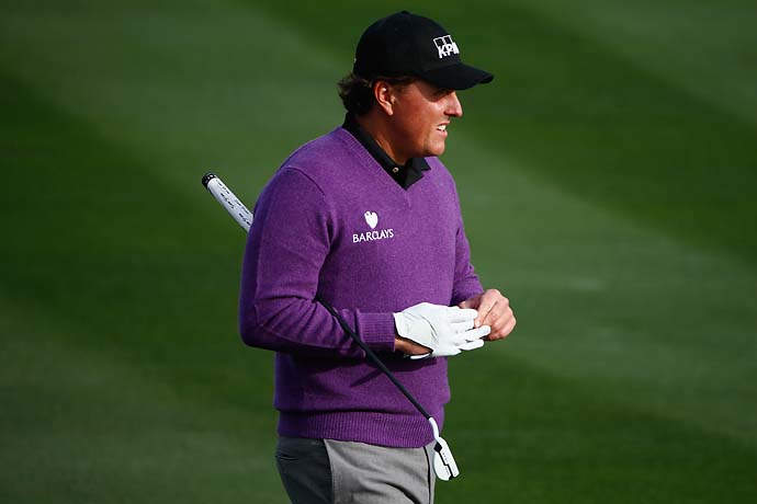 Phil Mickelson during the first round of the Waste Management Phoenix Open.