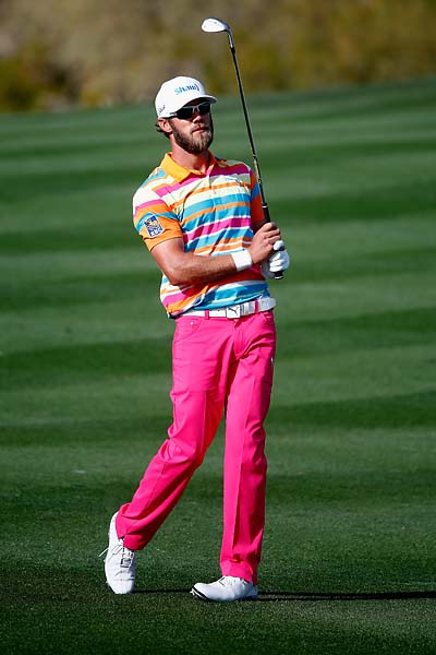 Graham DeLaet plays a shot on the 2nd hole during the first round of the Waste Management Phoenix Open.