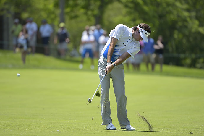 Bubba Watson hits his second shot on the first hole during the third round of the Memorial Tournament. Watson shot 69 on Saturday to lead the tournament by one stroke over Scott Langley.
