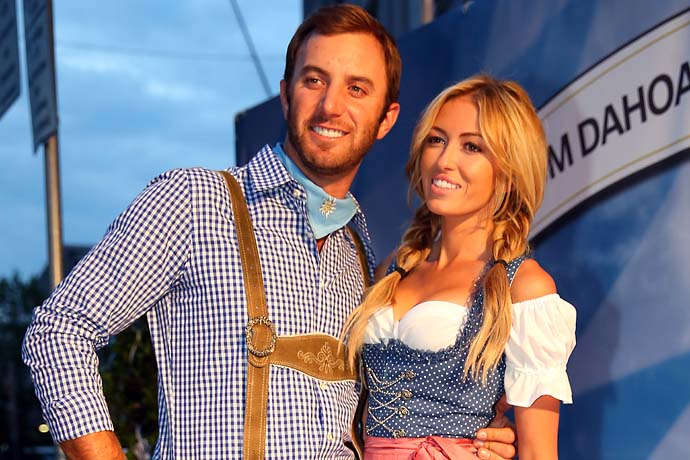 Dustin Johnson and Paulina Gretzky attend the BMW International Open 25th Anniversary Party in Munich, Germany.
