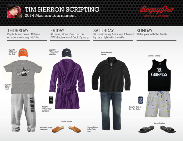 ‏@PGALumpy                       Here's what I'll be wearing during @The_Masters tournament. Tumble dry low, everyone.