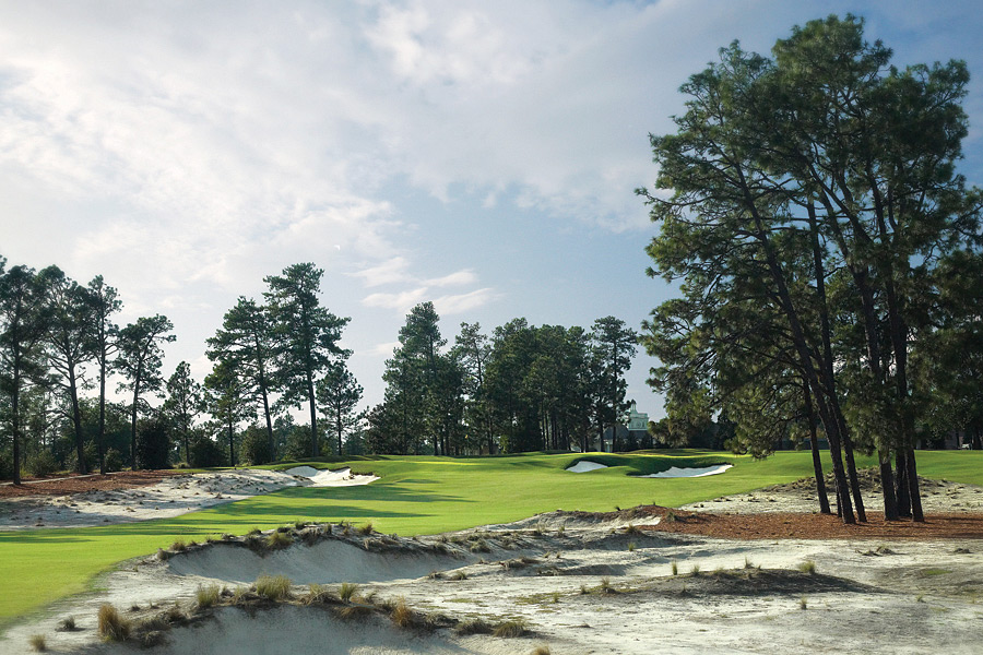 1. Pinehurst Resort, Pinehurst, NC; 910-295-6811, pinehurst.com                     The Sandhills region of North Carolina, 70 minutes southwest of Raleigh/Durham is studded with wonderful public plays. Still, there's only one Pinehurst No. 2, and it's worth every penny to say you've played it. Fresh off a Bill Coore/Ben Crenshaw restoration in time to host the 2014 U.S. Open, No. 2 dishes out the fiercest test of chipping in golf, amid the tall longleaf pines and enhanced sandy waste areas that have restored the strategic challenge to Donald Ross' original specs. Two other Ross designs are available to resort guests but second choice for many is Tom Fazio's No. 8. It can't approach fabled No. 2 for history and lore, but it's undeniable that for sheer beauty, variety and memorable holes, No. 8 holds its own. Lakes, wetlands, an abandoned sand pit and a man-made dune ridge add to the fun, but it's the huge, fast crowned greens that can send scores soaring.
