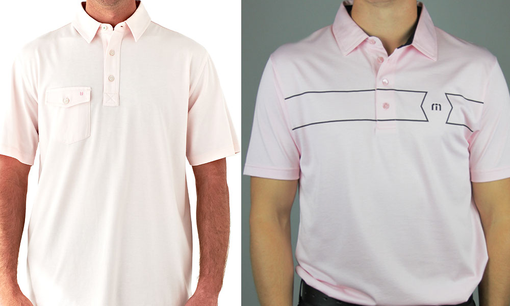 Travis Mathew shirt ($85, travismathew.com; Linksoul shirt ($70, store locator at linksoul.com)                       Some guys shrink from pink, so you may have to buy it for Dad. He won't regret it. The shirt on the right, from California designer Travis Mathew, has an interesting graphic chest pattern. The shirt on the left, from Linksoul, is a made from soft, plush 100-percent cotton. Either can be worn on the course, with a gray suit, or with a blue blazer and gray flannels.