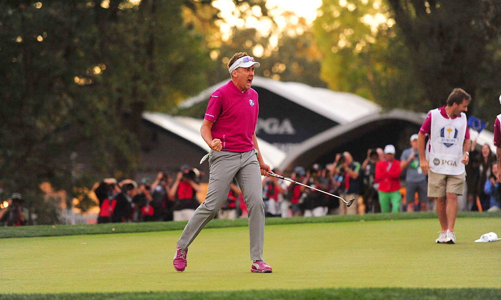 Ian Poulter played like a man possessed on Saturday evening, carrying Rory McIlroy to a 1-up victory over Jason Dufner and Zach Johnson in their four-ball match. He made clutch birdie putts on the final five holes to win the match and secure a point the Europeans desperately needed.
