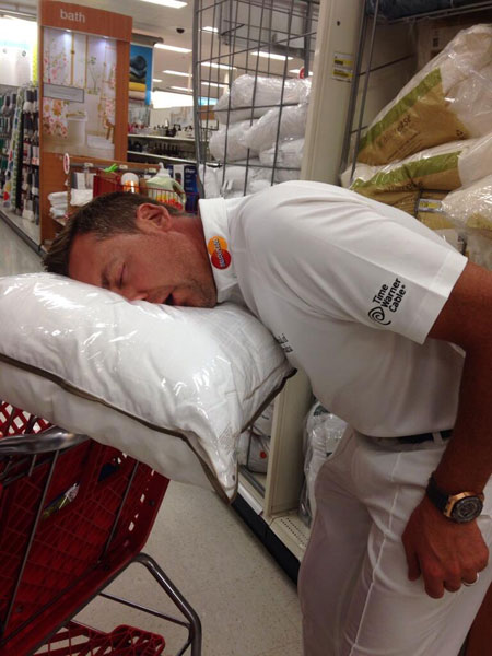 @IanJamesPoulter: Testing the firmness of a new couple of pillows in @Target. I think I've found something that works just nicely.