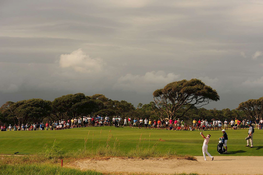 Ian Poulter made two bogeys and a birdie before the storms rolled in.