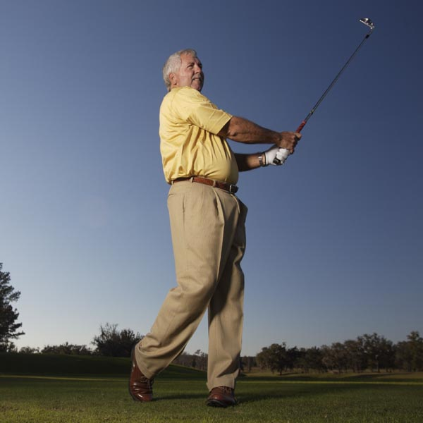 Make a complete, balanced swing so that you're facing the target and most of your weight is on your left foot. Study the flight of your ball, and stay in this position until it has landed.