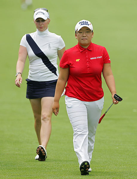 Morgan Pressel started the day in second place, but couldn't catch up with Shin.