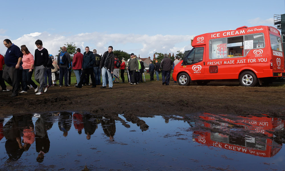 Large puddles greeted fans and players at Royal Lytham and St. Annes on Friday.