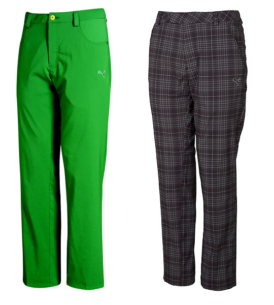 Puma Golf Jeans and Trousers (Five-pocket green golf jeans, $70; plaid tech trousers, $80, at Buy at Golf.com)                       Dad need not wear orange or acid green head to toe, like Rickie Fowler, but he could take a page from the Puma color story. These trousers evoke the vivid Lee Trevino-Johnny Miller era of the mid-'70s, when the fashion was wild and golf was fun.
