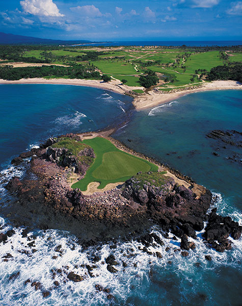 "Four Seasons Resort Punta Mita (Pacifico), Riviera Nayarit                                 The elder of the two Jack Nicklaus-designed siblings is world-renowned for its alternate, island-green, par-3 3rd hole. Known as 3B, it's called ""Tail of the Whale"" due to its distinctive shape. When the ocean surf rolls in, an amphibious vehicle gets you to the green."