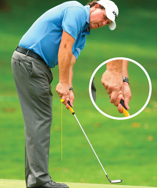 "STOCKTON STYLE                                          ""Instead of pointing his index finger straight down, we added a crook to it, so it doesn't overlap as much,"" Stockton says. ""This immediately cut the tension in Mickelson's right arm. It also gave his finger a bit of a trigger look, just like his full-swing grip. And now that's what he uses to start his putter back smoothly without jerking it off path."""