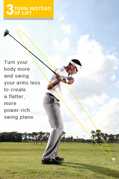 TURN INSTEAD OF LIFT                       If you pick your driver straight up in the air and swing on a steep plane you're never going to hit the ball with maximum power. Instead, you need to get your power by rotating your body and swinging around, instead of straight up and down. If you take a look at where I have the club as I'm starting down to the ball you'll see what I'm talking about. This club is on plane and ready to swing from the inside into impact. If you remember to swing around your body, you won't be able to slice across the ball, which leads to weak impact and short, crooked hits.