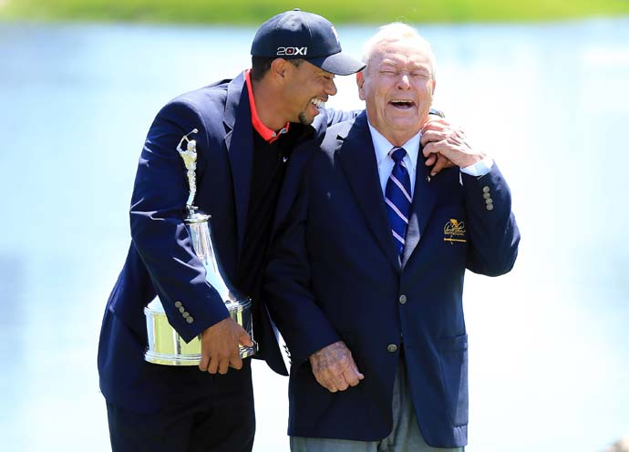 """I'm surprised that Tiger did what he did, I mean, he knows the rules.""                     --Arnold Palmer on Tiger Woods' controversial illegal drop in the second round of the 2013 Masters."