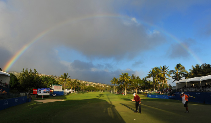 Jeff Maggert made a birdie on 18 just as a rainbow appeared over Waialae Country Club.
