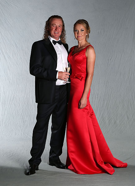 Miguel Angel Jimenez  poses with his girlfriend Susanne Styblo for a portrait at the Ryder Cup host hotel prior to the start of the 2012 Ryder Cup.