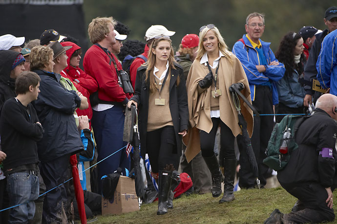 Alexandra Browne, girlfriend of Rickie Fowler, and Amy Mickelson during Saturday foursomes matches at the 2010 Ryder Cup at Celtic Manor Resort in Wales.