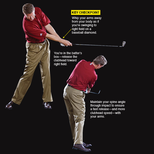 RELEASE                                          Release your arms past your body to improve your impact                     Your release is an extension of your downswing and impact positions. But don't take it for granted--keep on rotating the club all the way to the top.