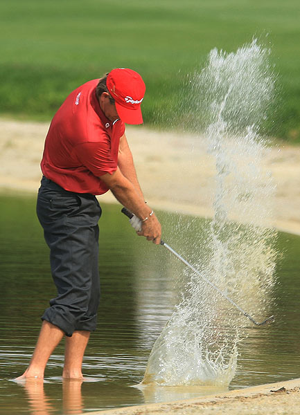 Retief Goosen, who won last week's Transitions Championship, found himself in the water on No. 11. He bogeyed the hole and went on to finish at four over par.