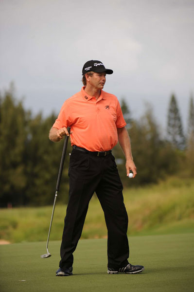 switch to the belly putter for the first tournament of the season led to a three-under 70.