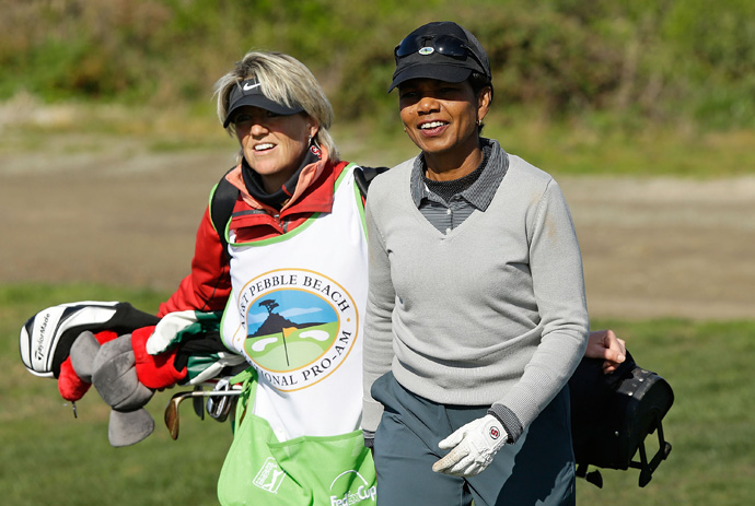 Former Secretary of State Condoleezza Rice is playing in the pro-am with Jason Bohn.