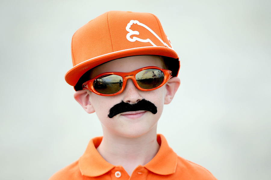 A young fan dressed as Rickie Fowler at the PGA Championship at Kiawah Island.