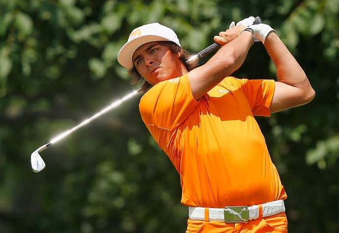 Rickie Fowler hits his tee shot on the 10th hole Sunday at Muirfield Village. Fowler played golf at Oklahoma State and last week donated money to help tornado victims in Oklahoma.