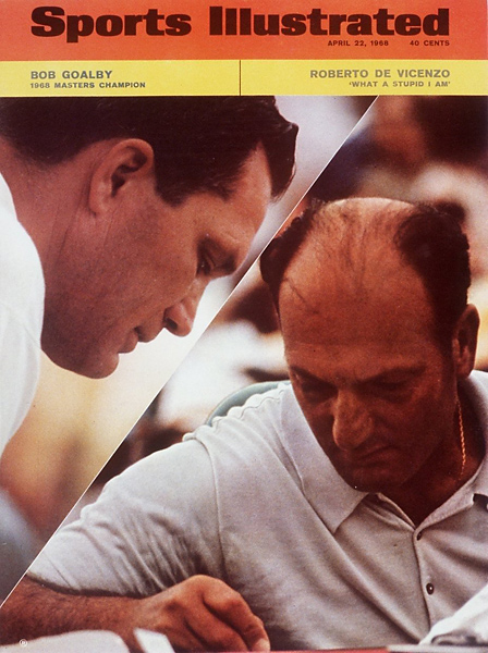 "The greatest of all rules mishaps occurred at the 1968 Masters. Upon finishing the final round apparently tied for the lead with Bob Goalby, Roberto De Vicenzo noticed his playing partner had given him a four on the par-4 17th hole, even though he had made a three. The Rules of Golf state that if a player signs a higher score than played, the signed score stands. Having already signed the card, De Vicenzo gained a stroke, missing the playoff by one. De Vicenzo responded to his disastrous error stating, ""What a stupid I am."""