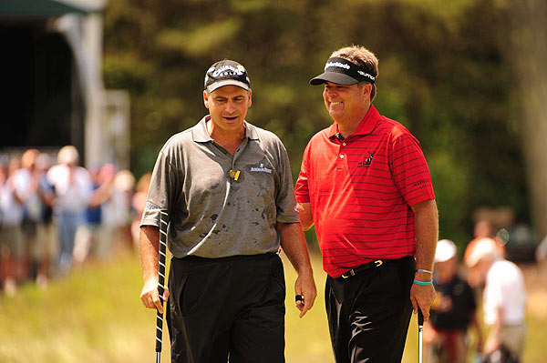 Perry played with Rocco Mediate. Perhaps they were commiserating over what it feels like to watch a major championship slip away.