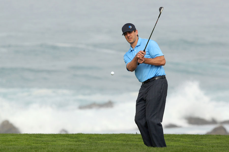 Green Bay Packers QB Aaron Rodgers shot a 67 with pro-am partner D.J. Trahan.