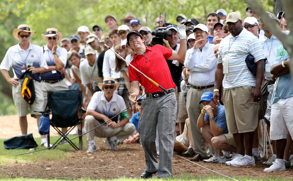 In the opening round at the PGA Championship, McIlroy ran into trouble on the third hole when he hit a tree root on his second shot.