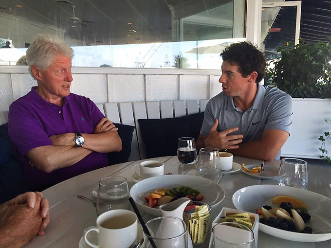 "Rory and Bill Clinton share a moment over a meal in August. Earlier, Clinton tweeted at Rory: ""Congrats @McIlroyRory on your 2014 British Open title. See you for another round next time I'm in Ireland."" At the lunch, McIlroy tweeted: ""Had a great time today catching up with @billclinton, always a pleasure and education spending time in his company!"""