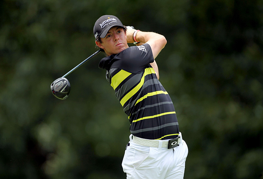 Rory McIlroy struggled in the third round, but he birdied 18 to finish one shot off the lead.