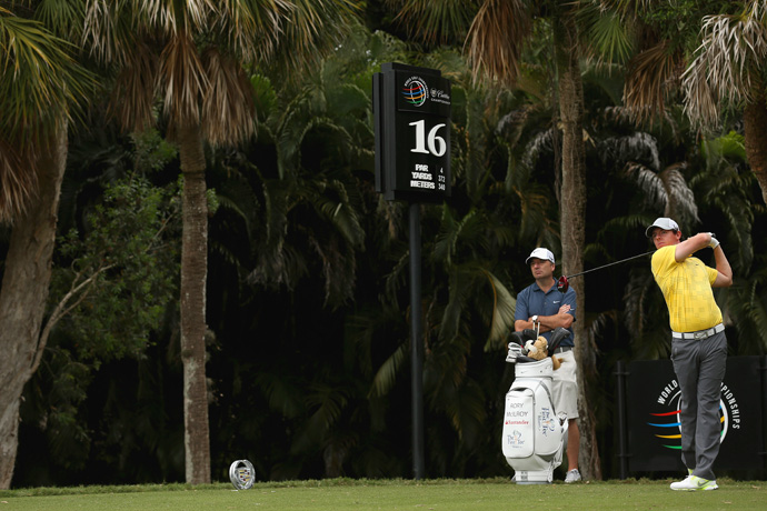 Five days after he walked off the course at the Honda Classic, Rory McIlroy was back at Doral Wednesday preparing for the WGC-Cadillac Championship.
