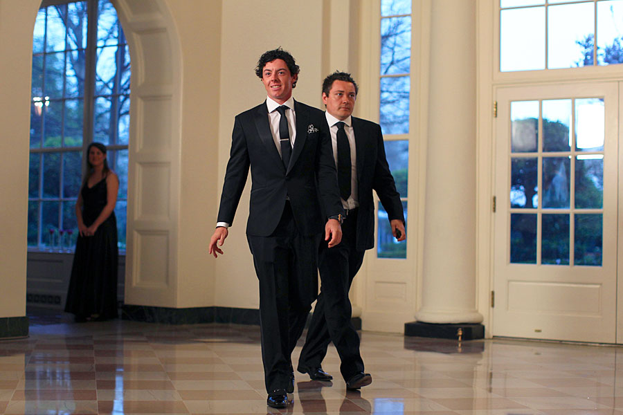 Rory McIlroy and his agent, Conor Ridge, attended a state dinner held in honor of British Prime Minister David Cameron and his wife, Samantha, at the White House on March 15.