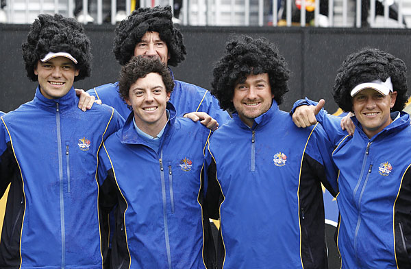 They didn't dye their hair, but several members of the 2010 European Ryder Cup team sported Rory McIlroy wigs.