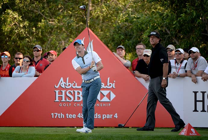"""He's nearly 20 years older. So I think at 43, I'll probably be on the decline as well.""                        --Rory McIlroy on driving it past Phil Mickelson in Abu Dhabi."