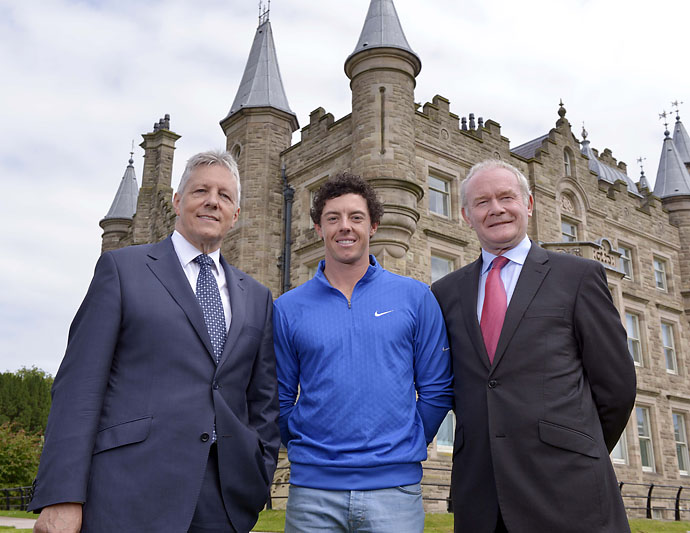 """Sorry I don't have the Claret Jug. It is not going everywhere with me. It is getting a bit of clean up after last night.""                       Rory McIlroy to Northern Ireland's First Minister and Deupty First Minister Peter Robinson, left, and Martin McGuinness, right, the day after a night of partying with friends and the Claret Jug at a Belfast nightclub."