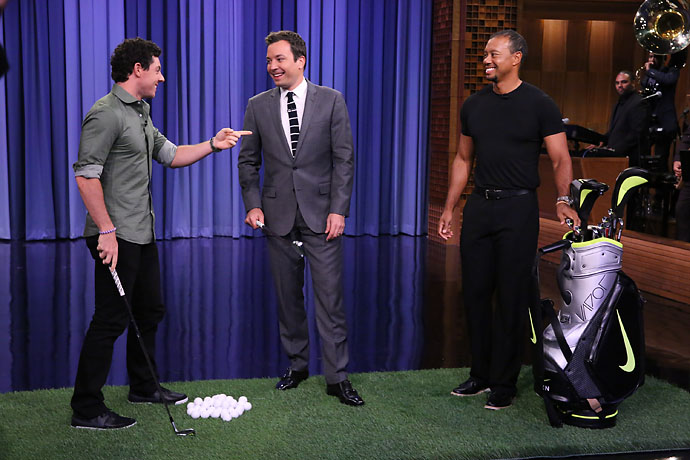 """He can't be dominant if he's not on the golf course.""                       Rory McIlroy on whether he meant to use the past tense when talking about Tiger Woods' dominance on ""The Tonight Show With Jimmy Fallon."""