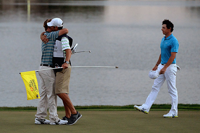 After a spectacular 5-wood to birdie the final hole to get into a tie for the lead, McIlroy lost a four-way playoff to Russell Henley at the Honda Classic on March 2 in Palm Beach Gardens, Florida.