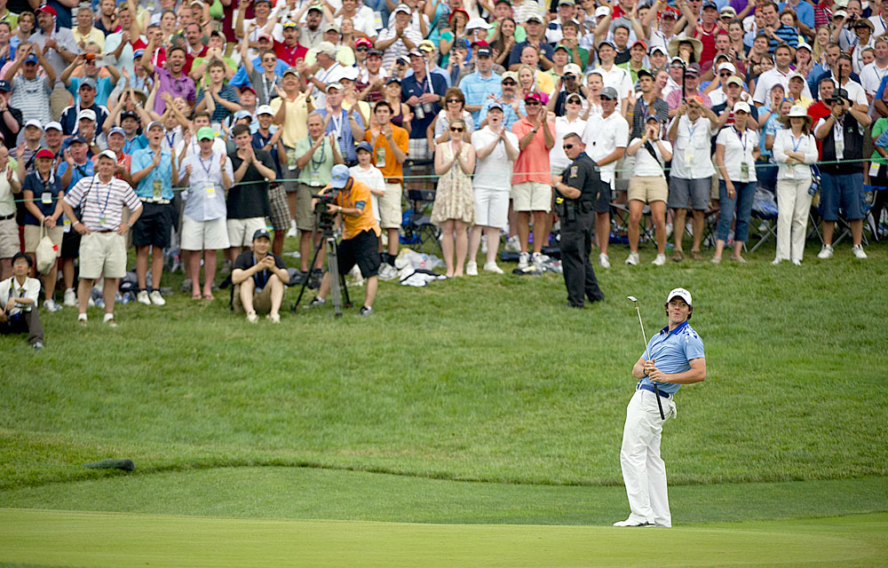 McIlroy lagged his birdie putt close to the hole on the 18th green to cement his eight-shot win at Congressional.
