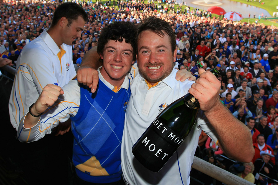 McIlroy teamed up with countryman Graeme McDowell to win 1 1/2 points for Europe.